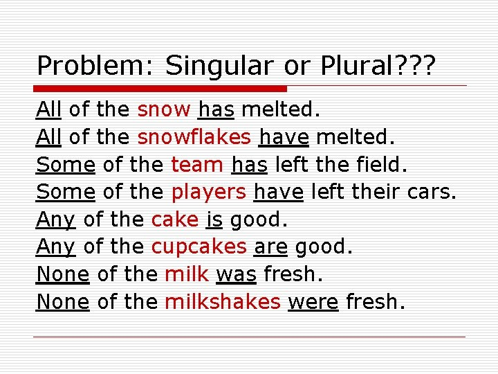 Problem: Singular or Plural? ? ? All of the snow has melted. All of