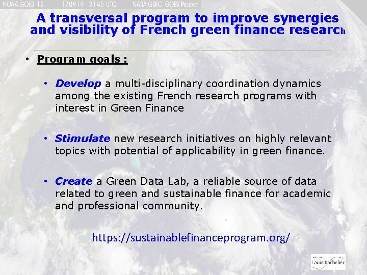 A transversal program to improve synergies and visibility of French green finance research •