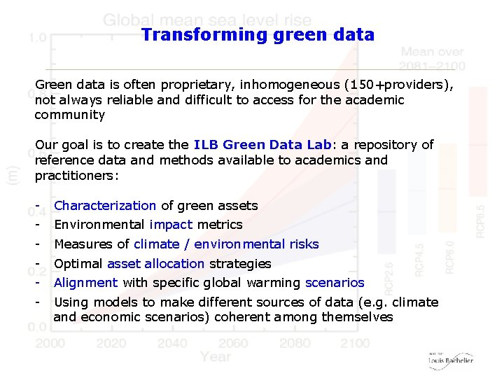 Transforming green data Green data is often proprietary, inhomogeneous (150+providers), not always reliable and