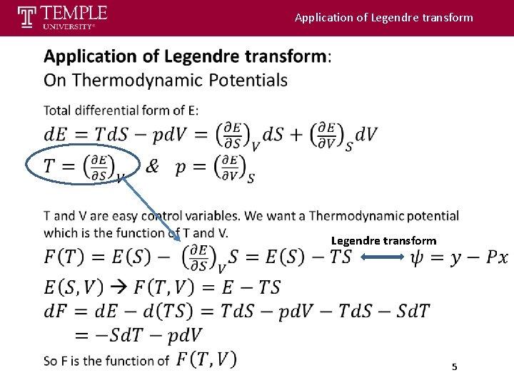 Application of Legendre transform 5