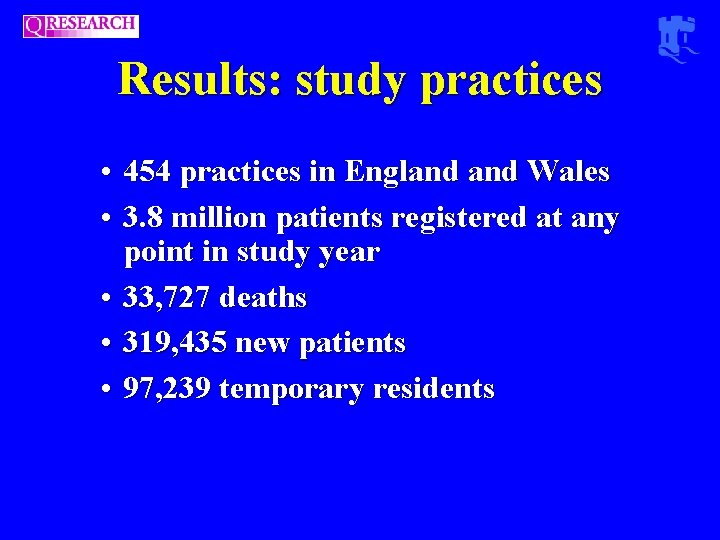 Results: study practices • 454 practices in England Wales • 3. 8 million patients