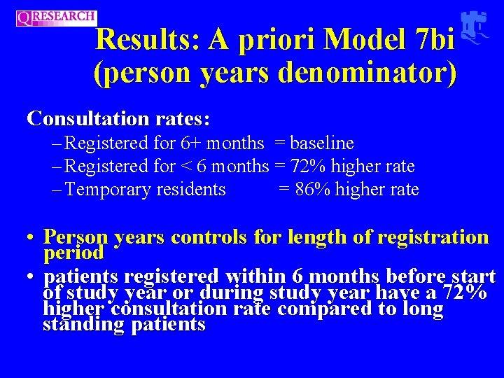 Results: A priori Model 7 bi (person years denominator) Consultation rates: – Registered for