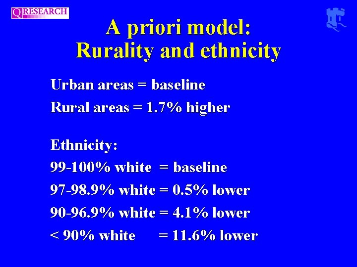 A priori model: Rurality and ethnicity Urban areas = baseline Rural areas = 1.