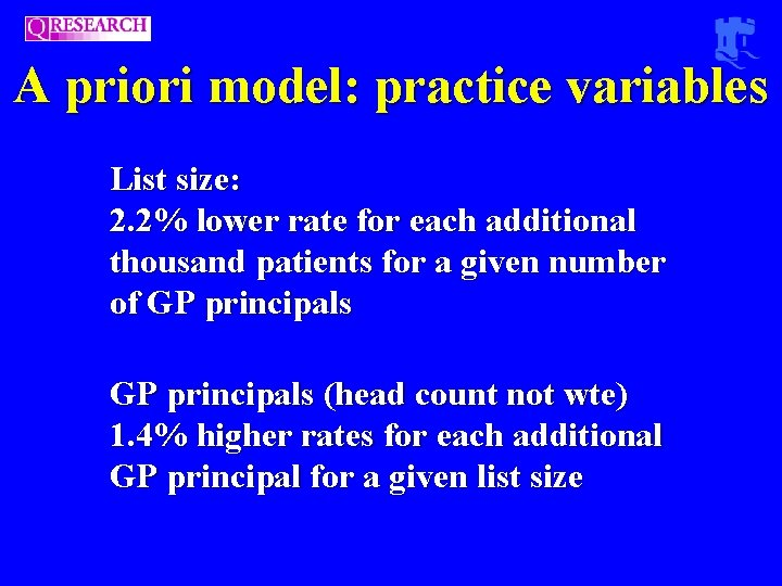 A priori model: practice variables List size: 2. 2% lower rate for each additional