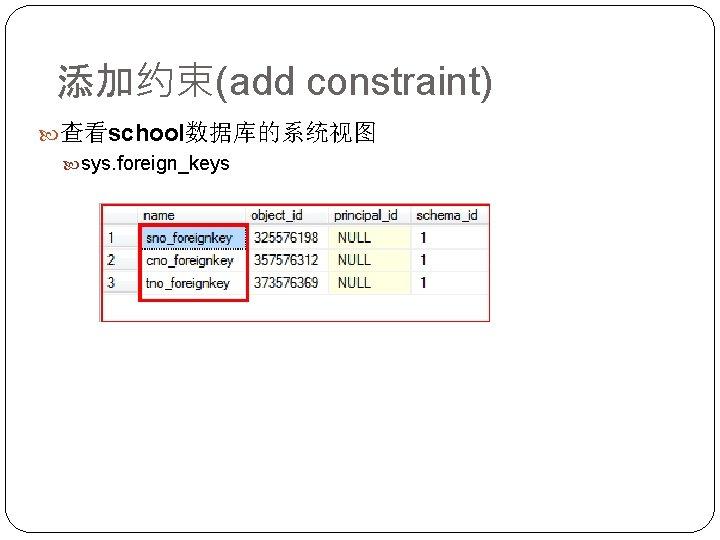 添加约束(add constraint) 查看school数据库的系统视图 sys. foreign_keys