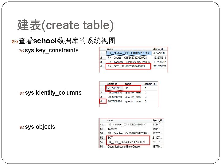 建表(create table) 查看school数据库的系统视图 sys. key_constraints sys. identity_columns sys. objects