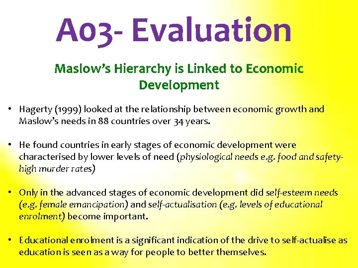 A 03 - Evaluation Maslow's Hierarchy is Linked to Economic Development • Hagerty (1999)