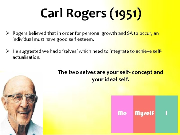 Carl Rogers (1951) Ø Rogers believed that in order for personal growth and SA