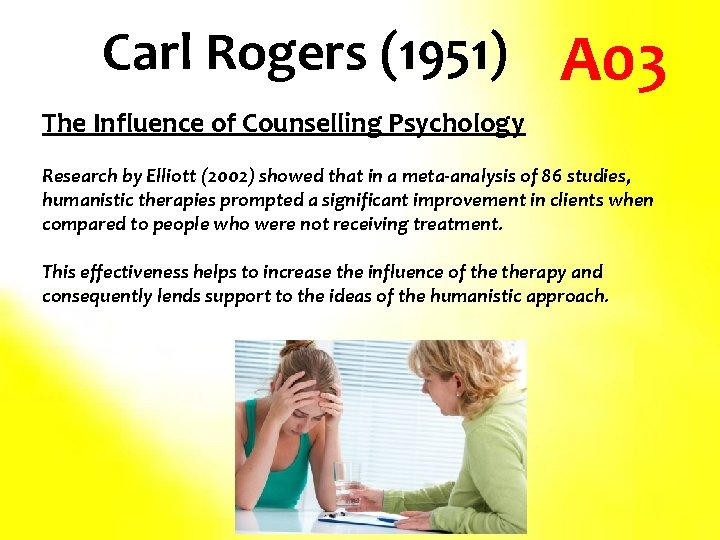 Carl Rogers (1951) A 03 The Influence of Counselling Psychology Research by Elliott (2002)