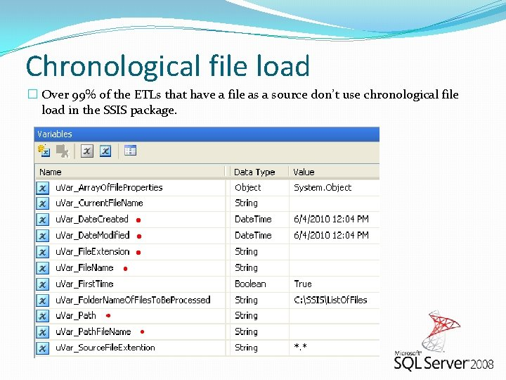 Chronological file load � Over 99% of the ETLs that have a file as