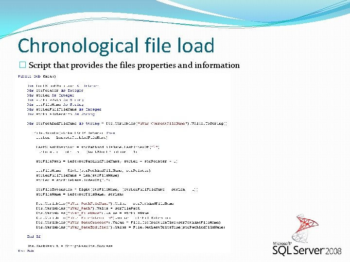 Chronological file load � Script that provides the files properties and information