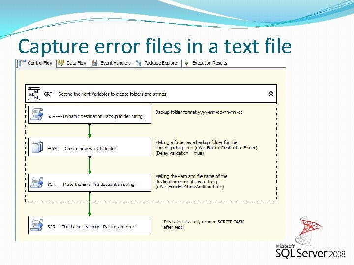Capture error files in a text file