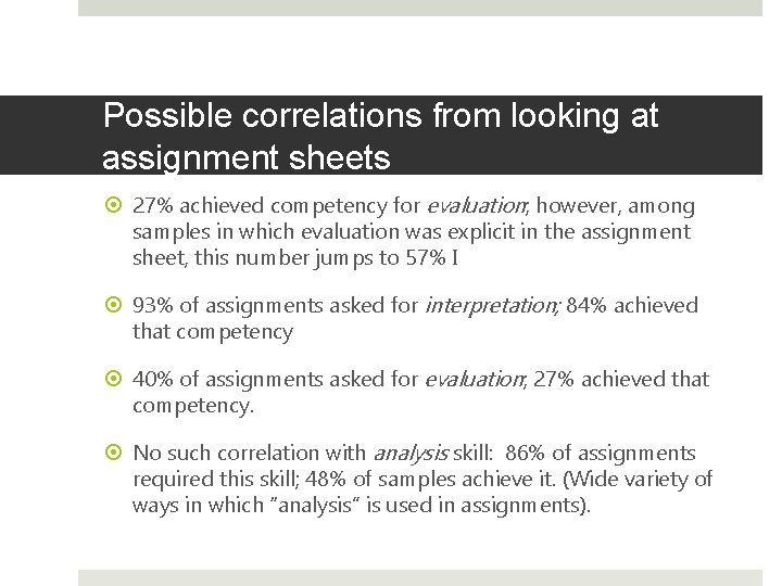 Possible correlations from looking at assignment sheets 27% achieved competency for evaluation; however, among