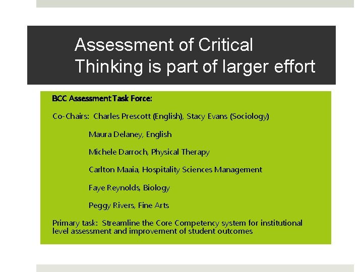 Assessment of Critical Thinking is part of larger effort BCC Assessment Task Force: Co-Chairs: