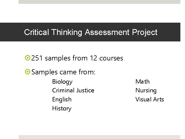 Critical Thinking Assessment Project 251 samples from 12 courses Samples came from: Biology Criminal