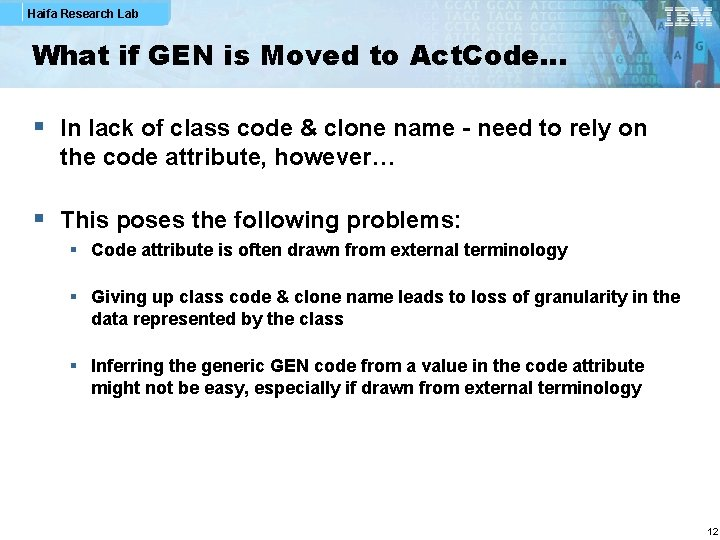 Haifa Research Lab What if GEN is Moved to Act. Code… § In lack