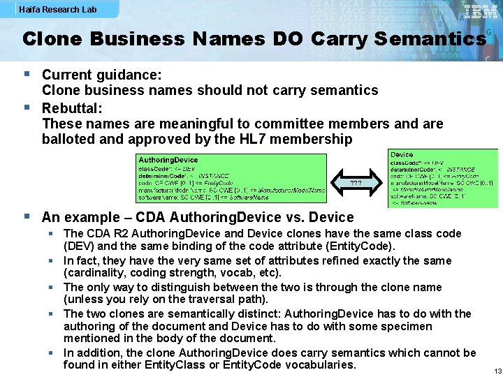 Haifa Research Lab Clone Business Names DO Carry Semantics § Current guidance: Clone business