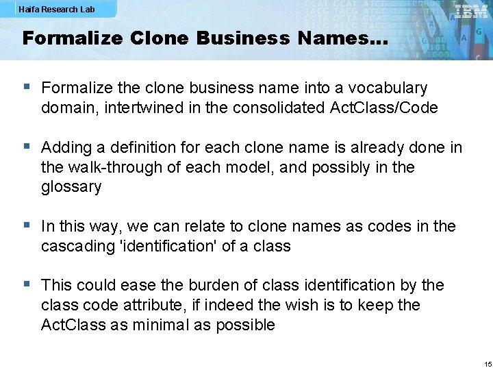 Haifa Research Lab Formalize Clone Business Names… § Formalize the clone business name into