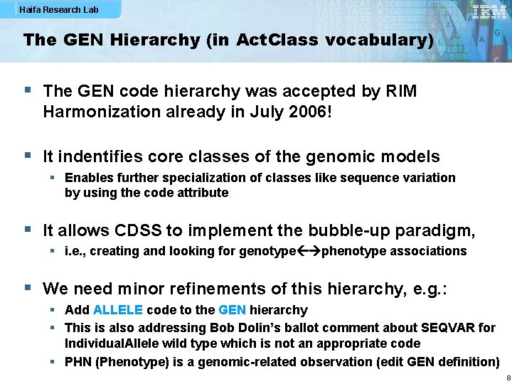 Haifa Research Lab The GEN Hierarchy (in Act. Class vocabulary) § The GEN code