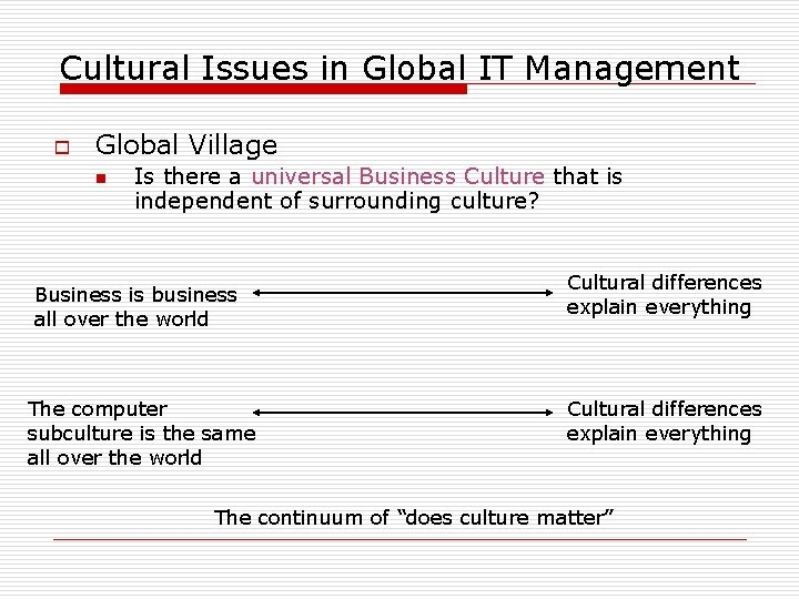 Cultural Issues in Global IT Management o Global Village n Is there a universal