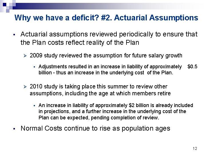 Why we have a deficit? #2. Actuarial Assumptions § Actuarial assumptions reviewed periodically to