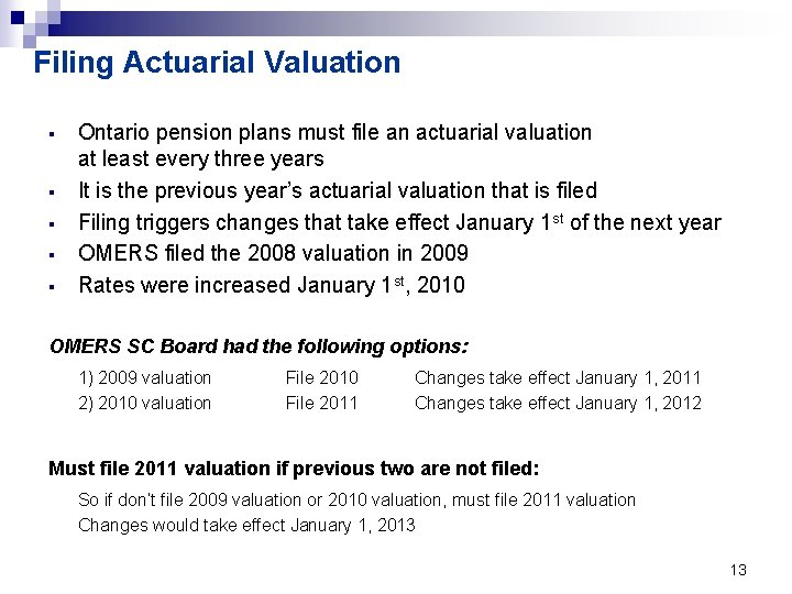 Filing Actuarial Valuation § § § Ontario pension plans must file an actuarial valuation