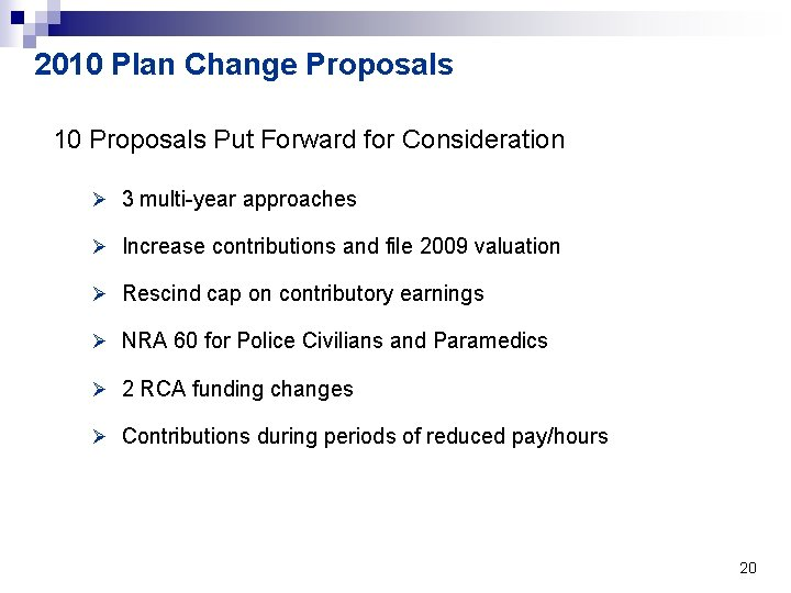 2010 Plan Change Proposals 10 Proposals Put Forward for Consideration Ø 3 multi-year approaches