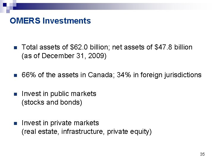 OMERS Investments n Total assets of $62. 0 billion; net assets of $47. 8
