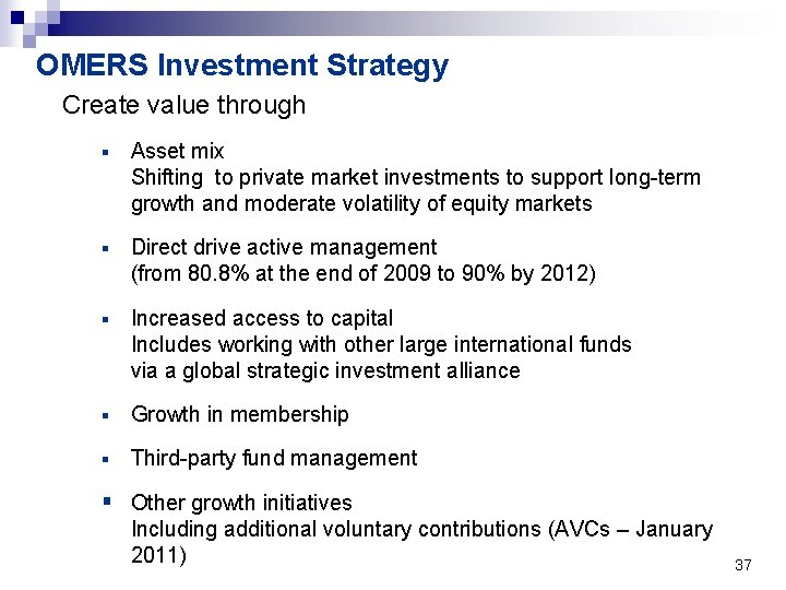 OMERS Investment Strategy Create value through § Asset mix Shifting to private market investments