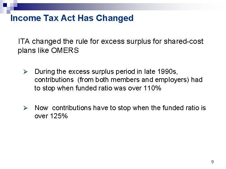 Income Tax Act Has Changed ITA changed the rule for excess surplus for shared-cost