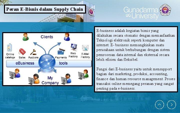 Peran E-Bisnis dalam Supply Chain E-business adalah kegiatan bisnis yang dilakukan secara otomatis dengan