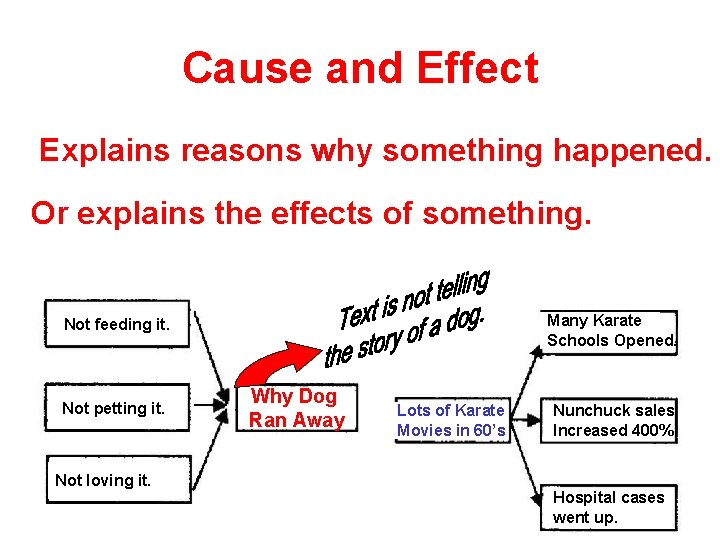 Cause and Effect Explains reasons why something happened. Or explains the effects of something.