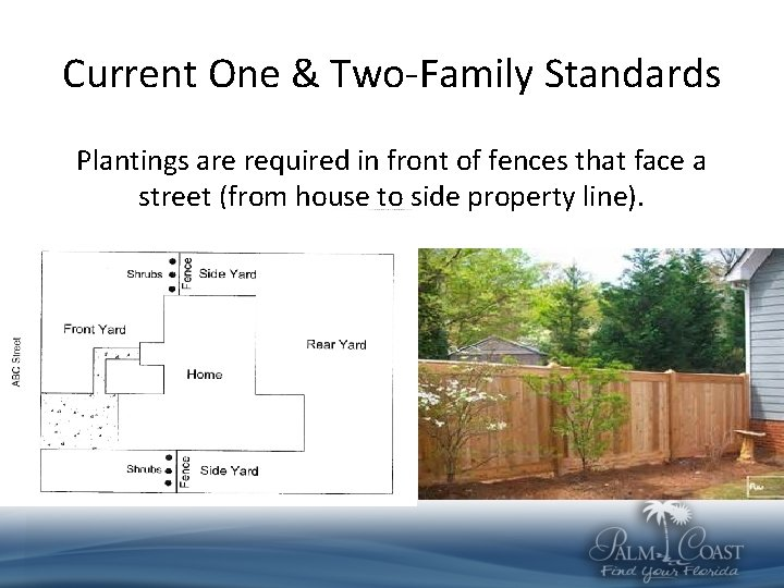 Current One & Two-Family Standards Plantings are required in front of fences that face
