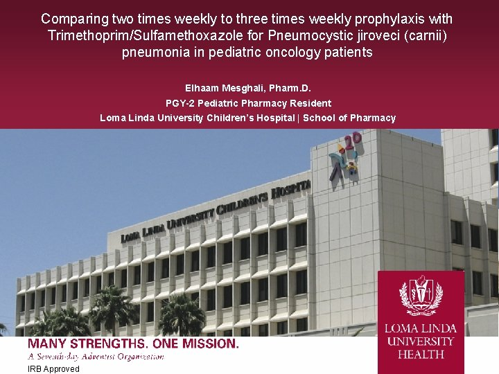 Comparing two times weekly to three times weekly prophylaxis with Trimethoprim/Sulfamethoxazole for Pneumocystic jiroveci