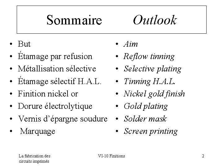 Sommaire Outlook • • But Étamage par refusion Métallisation sélective Étamage sélectif H. A.