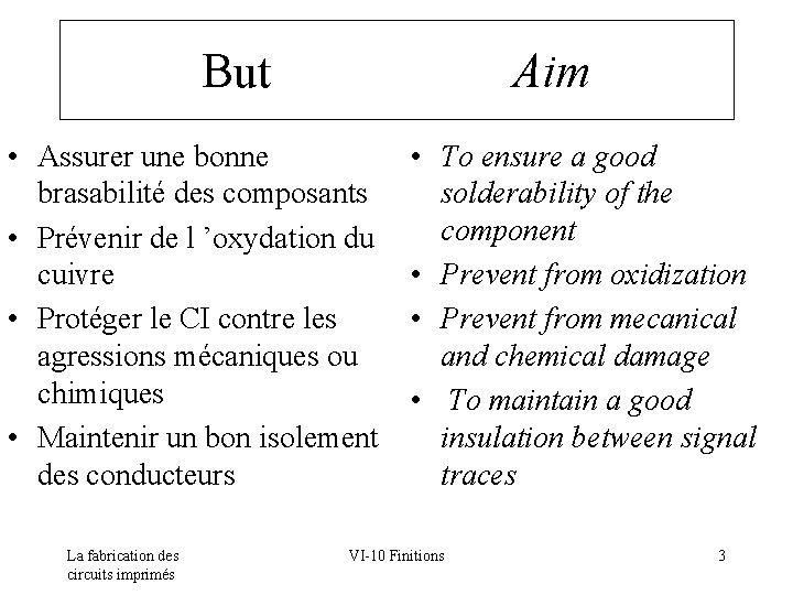 But Aim • Assurer une bonne brasabilité des composants • Prévenir de l 'oxydation