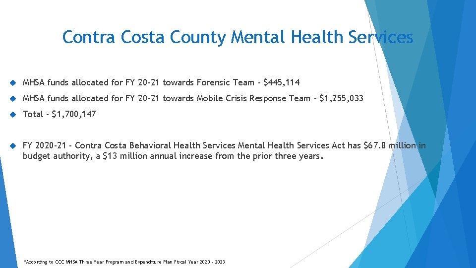 Contra Costa County Mental Health Services MHSA funds allocated for FY 20 -21 towards