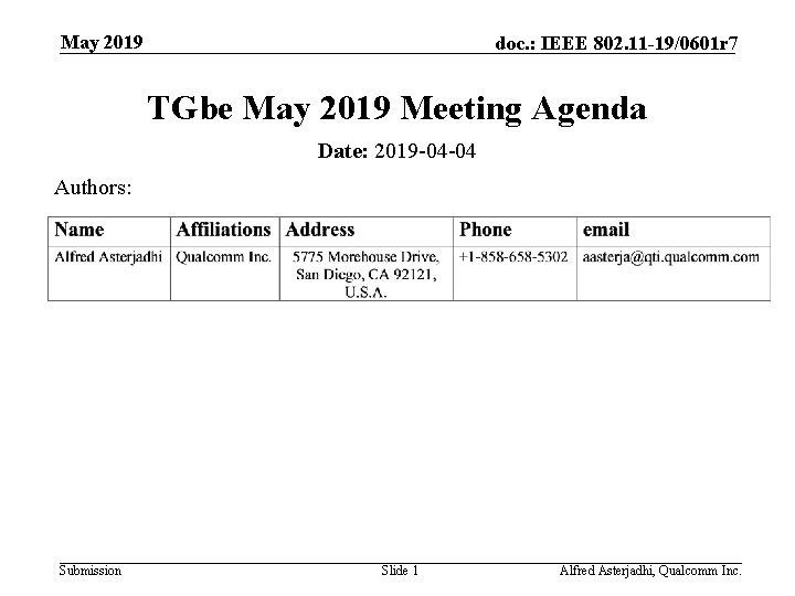 May 2019 doc. : IEEE 802. 11 -19/0601 r 7 TGbe May 2019 Meeting