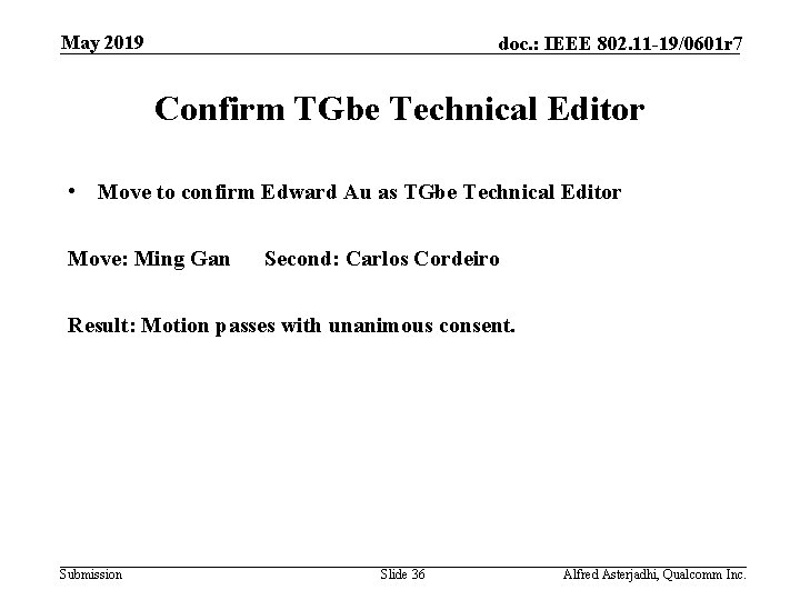 May 2019 doc. : IEEE 802. 11 -19/0601 r 7 Confirm TGbe Technical Editor