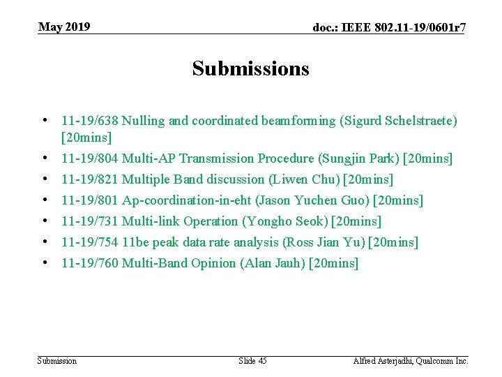 May 2019 doc. : IEEE 802. 11 -19/0601 r 7 Submissions • 11 -19/638