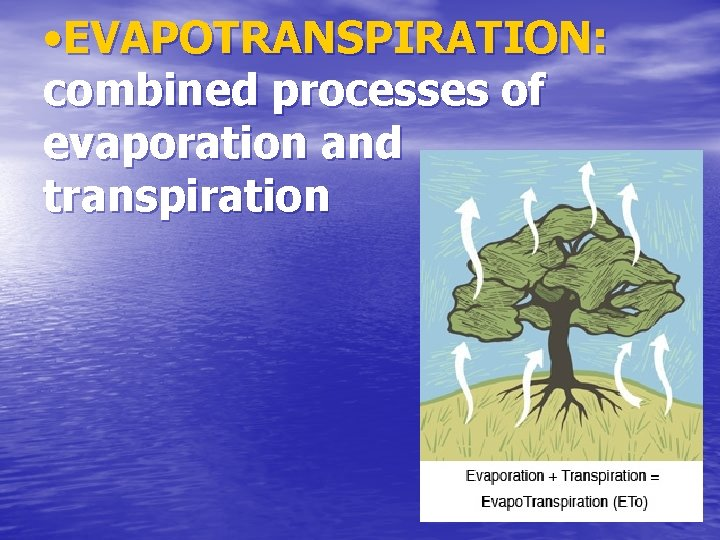 • EVAPOTRANSPIRATION: combined processes of evaporation and transpiration