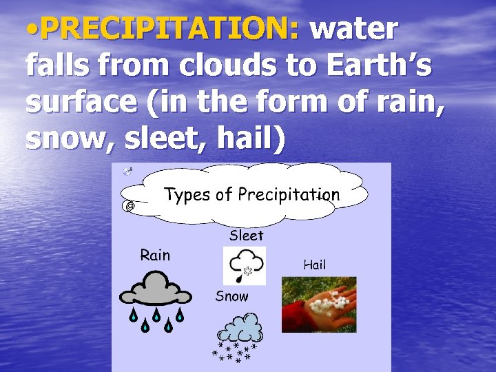 • PRECIPITATION: water falls from clouds to Earth's surface (in the form of