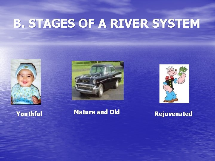B. STAGES OF A RIVER SYSTEM Youthful Mature and Old Rejuvenated