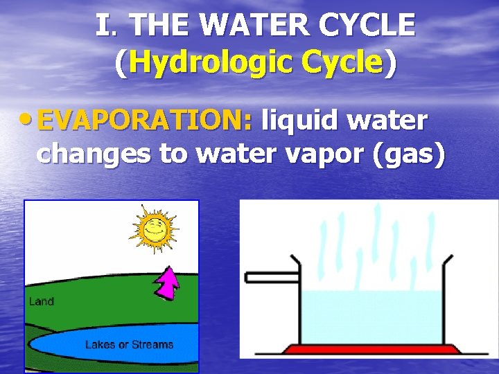 I. THE WATER CYCLE (Hydrologic Cycle) • EVAPORATION: liquid water changes to water vapor