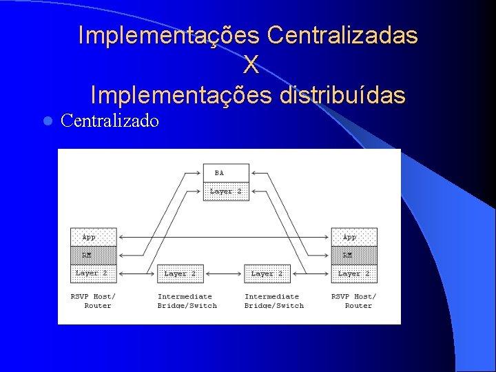 Implementações Centralizadas X Implementações distribuídas l Centralizado