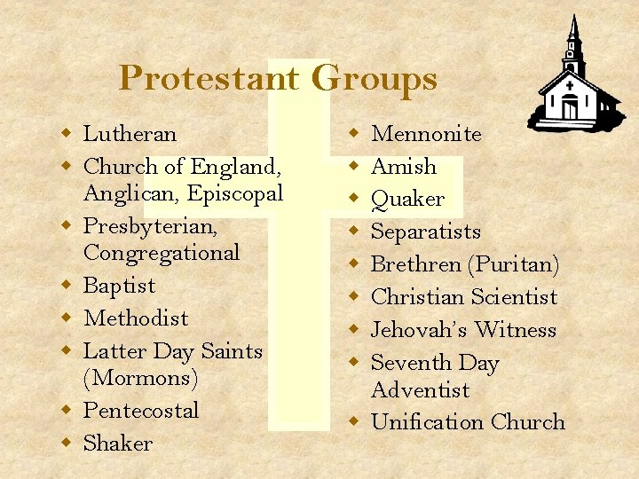 Protestant Groups w Lutheran w Church of England, Anglican, Episcopal w Presbyterian, Congregational w