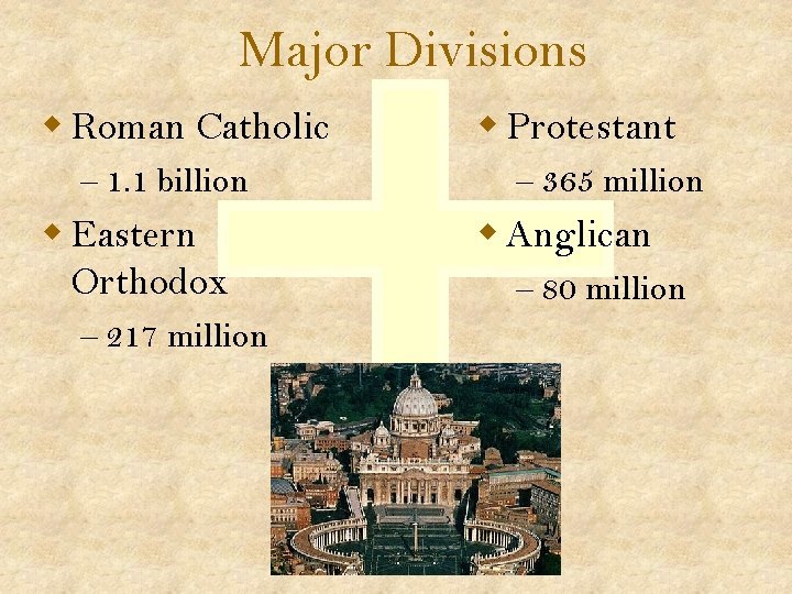 Major Divisions w Roman Catholic – 1. 1 billion w Eastern Orthodox – 217