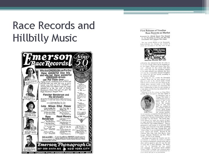 Race Records and Hillbilly Music