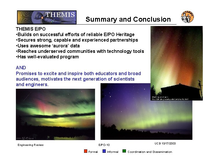 Summary and Conclusion THEMIS E/PO • Builds on successful efforts of reliable E/PO Heritage