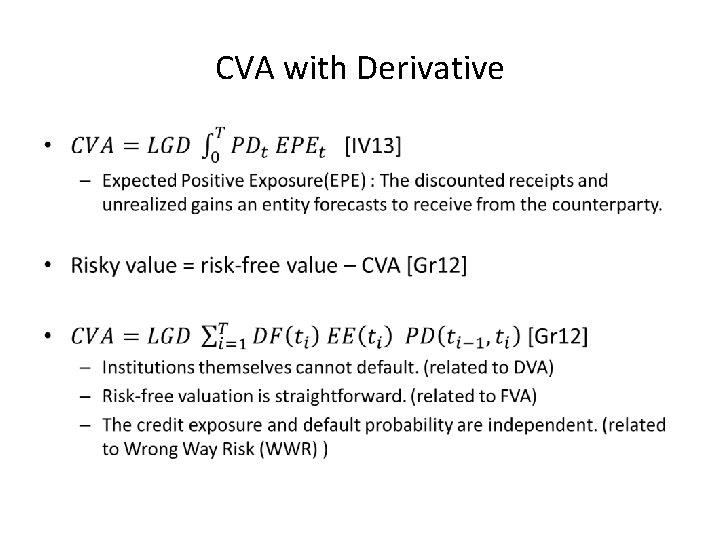 CVA with Derivative •